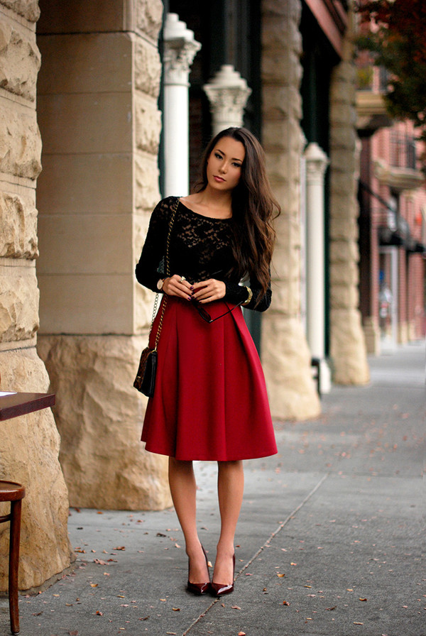 Red Zipper Ruffle A Line Skirt - Sheinside.com