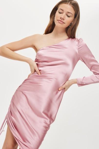 Topshop dress one shoulder dress midi pink