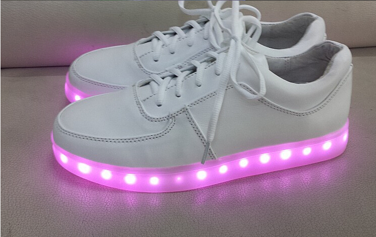 Free EMS New Fashion Simulation Yifang Wan X Samuel Yang LED USB Charge Genuine Leather Men Women Flat Sneakers shoes 35 45 -in Flats from Shoes on Aliexpress.com