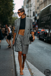 blazer,grey blazer,sandal heels,sunglasses,bag,suit