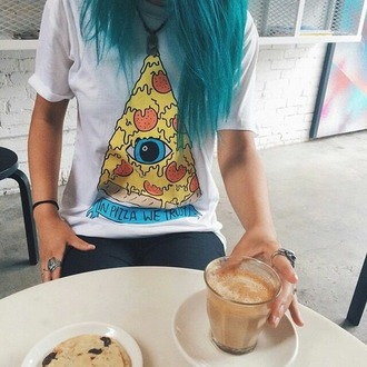 shirt yellow blue t-shirt tumblr tumblr shirt pastel hair
