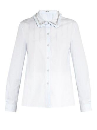 shirt embellished cotton light blue light blue top
