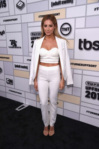 top ashley tisdale white all white everything crop tops bustier blazer pants celebrities in white jacket all white outfit