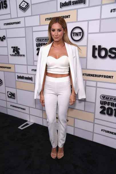 528eeea2e46 top, ashley tisdale, white, all white everything, crop tops, bustier ...
