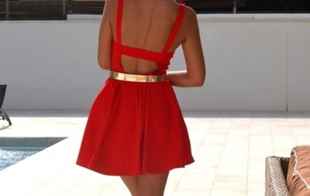 dress red open back dress silver belt