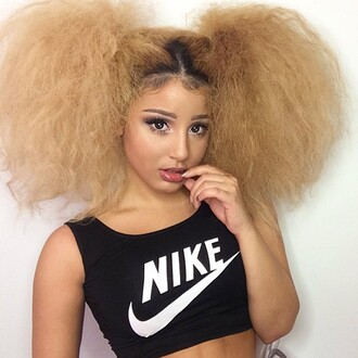 shirt nike crop tops make-up jadah doll celebrity hair hairstyles natural makeup look top black crop top sports bra jadah doll nails
