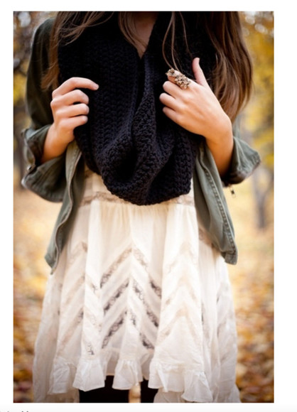 black scarf dress white dress black white acessories girl jacket grey jacket