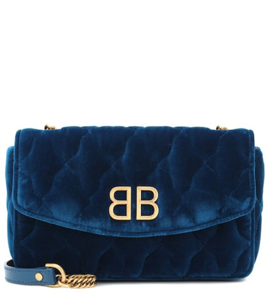 quilted bag shoulder bag velvet blue