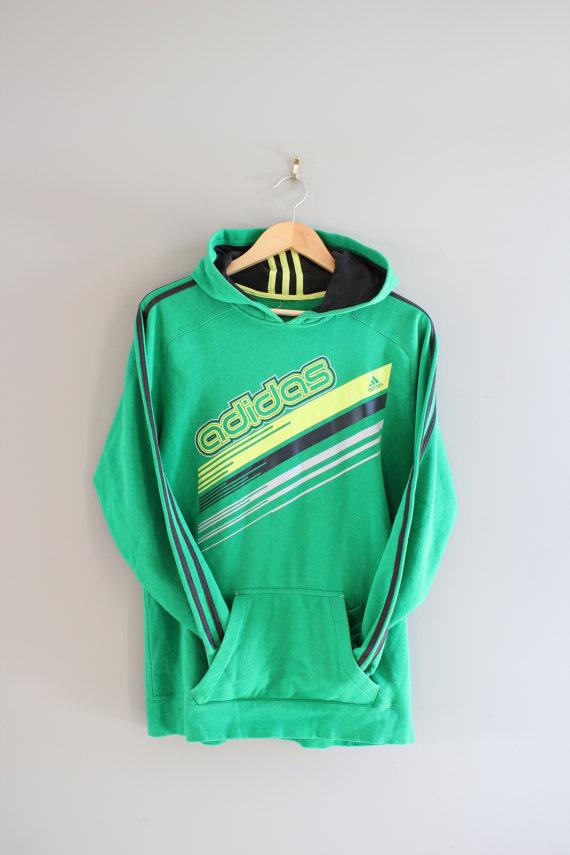 adidas hoodie retro green 3 stripes sweatshirt fleece. Black Bedroom Furniture Sets. Home Design Ideas