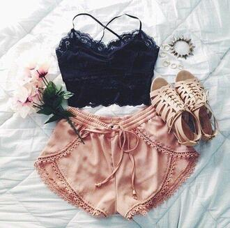black crop top black lace tank top shorts pink nude shoes cami top black cami top silk short shorts drawstring shorts peach loose mini shorts pink shorts nude shorts rose gold tan champagne soft cute gorgeous boho bohemian hippie festival coachella top black lace top black lace top bra