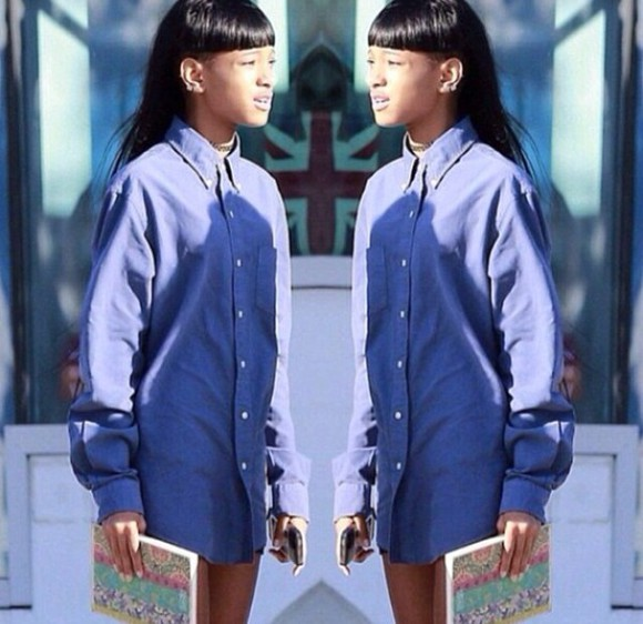blouse denim blue shirt blue oversized willow willow smith plain blouse baggy books