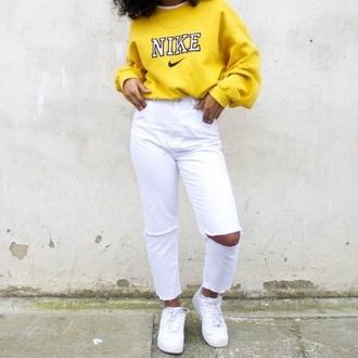 jacket hoodie nike nike hoodie yellow yellow nike yellow nike hoodie crop tops cut half black white