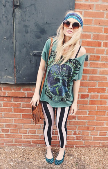green t-shirt t-shirt urban outfitters tights stripped tights