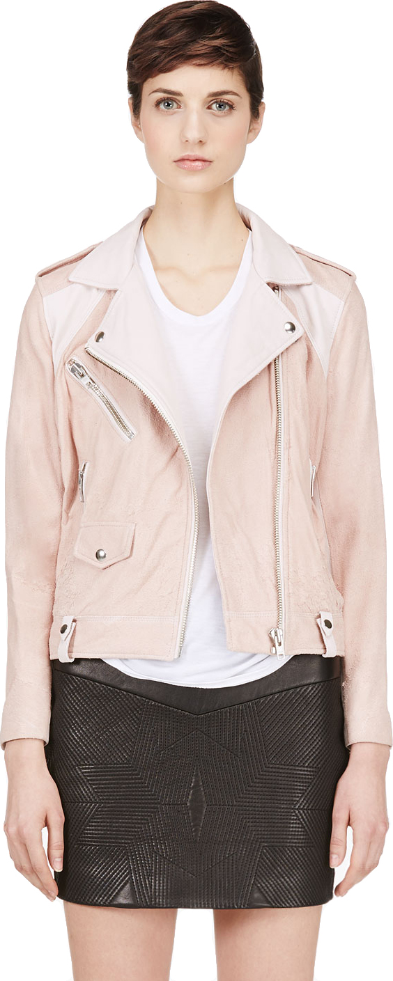Iro - Pink Distressed Suede Adila Biker Jacket | SSENSE