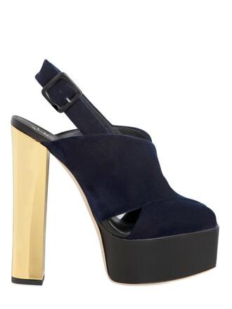 sandals velvet gold navy shoes