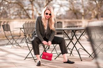 british fashion blog - mediamarmalade blogger pants t-shirt jacket bag shoes gucci bag red bag loafers gucci princetown blazer