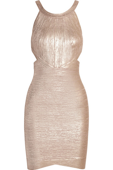 Hervé Léger | Cutout metallic bandage mini dress | NET-A-PORTER.COM