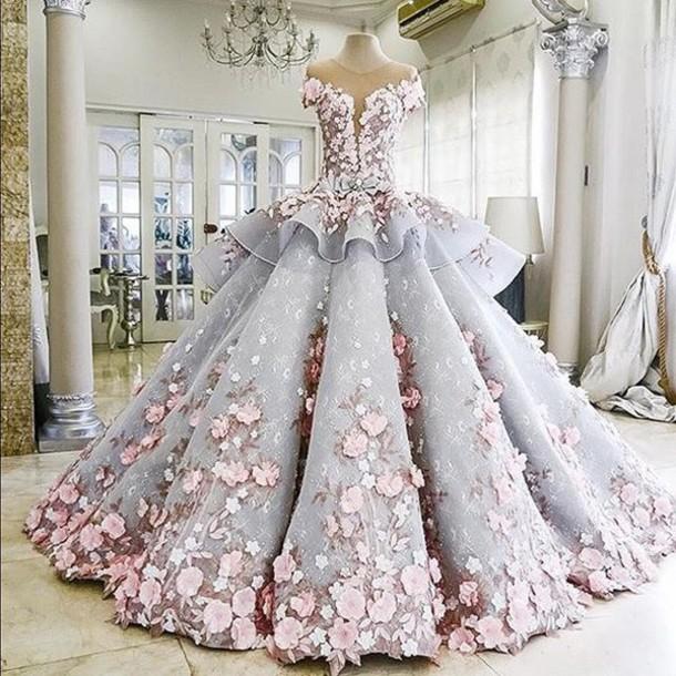 Dress Amazing Flowers Prom Cute Purple White Princess Wedding