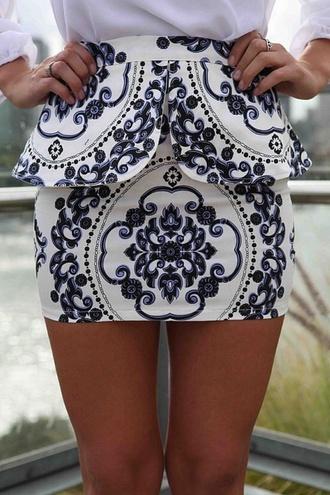 skirt white peplum peplum skirt blue dark blue cute print printed skirt fashion navy short skirt