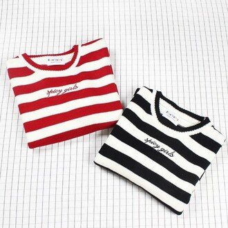 sweater red black stripes casual teenagers cool basic long sleeves boogzel