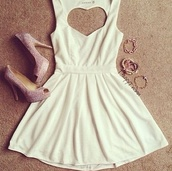 dress,white,heart,shoes,heart cut out,date outfit,white dress