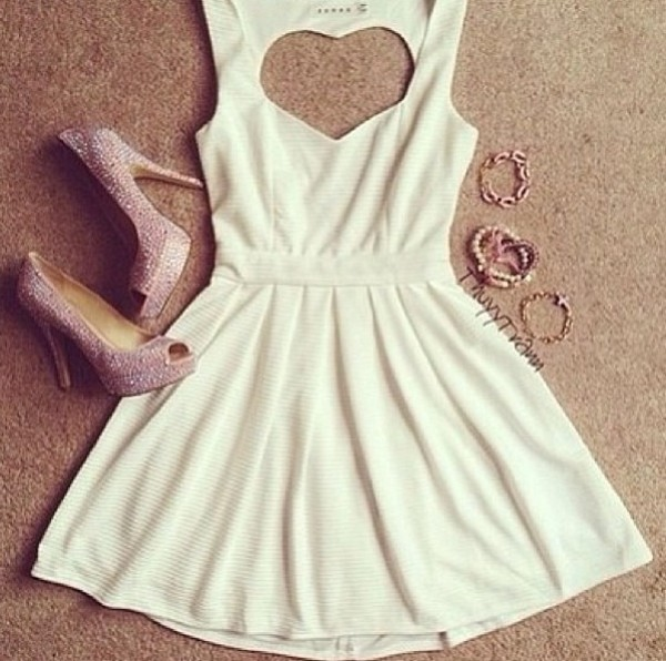 dress white heart shoes heart cut out date outfit white dress