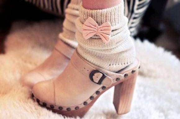 bows socks ribbon beige knitwear