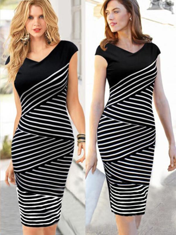 Sheath V Neck Knee Length Blends Bodycon Dresses : KissChic.com