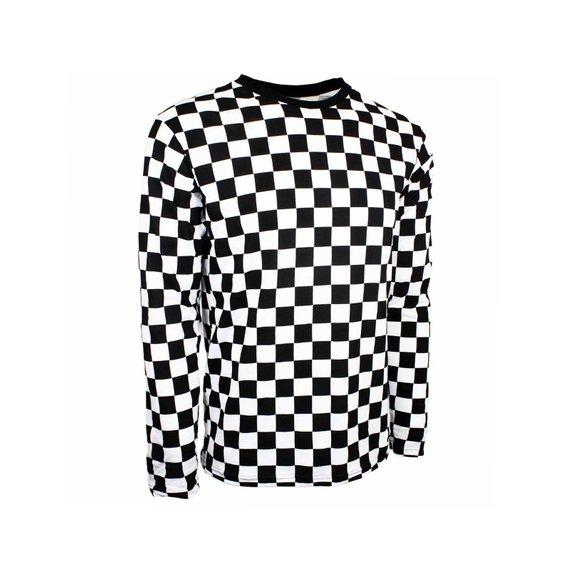 Child Long Sleeve Black & White Checkered Shirt