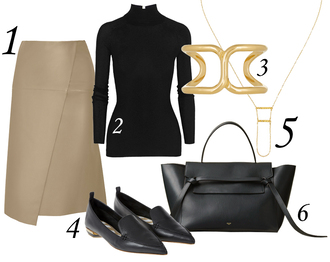 blogger jewels skirt blame it on fashion asymmetrical loafers pointed toe camel outfit leather bag
