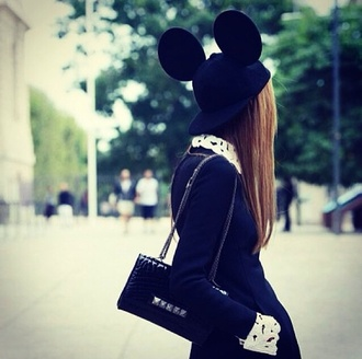 hat black mickey mouse minnie mouse mouse ears cap blogger snapback