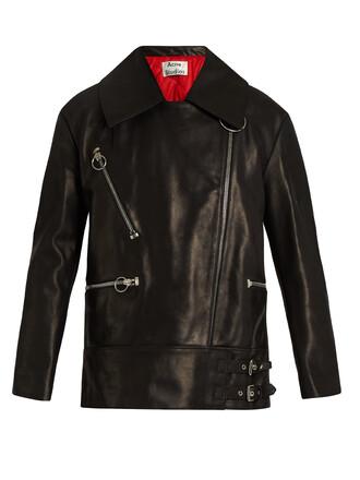 jacket leather jacket oversized leather black