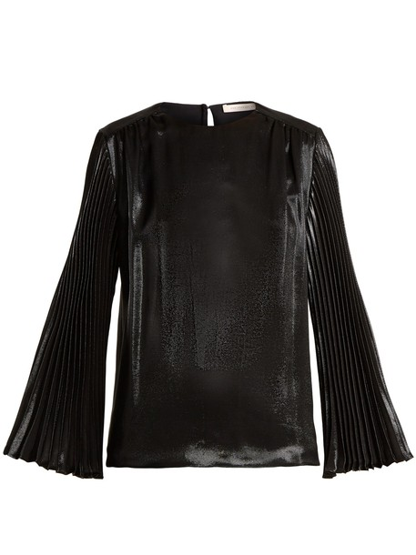 CHRISTOPHER KANE top pleated silk black