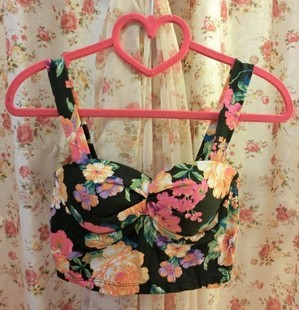 Chest pad wrapped bodice vintage floral pattern vintage women crop top