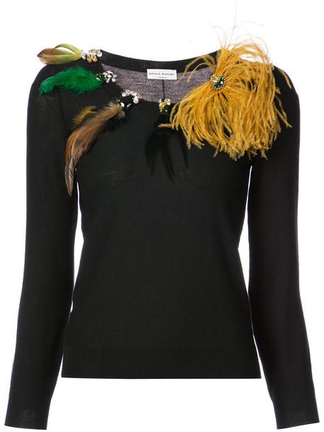 Sonia Rykiel jumper women embellished black wool sweater