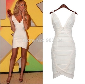 New 2014 celebrity dress white red spring summer dress casual v neck sleeveless sexy mini bodycon dress hl bandage dress 1781