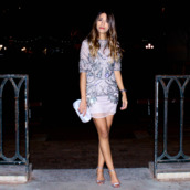 fadela mecheri,blogger,dress,new year's eve,sandals,party outfits,embellished,bag,shoes,jewels,Silver sandals