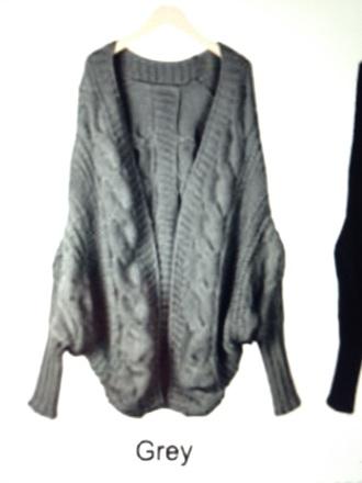 cardigan grey boyfriend batwing oversized knitwear chunky