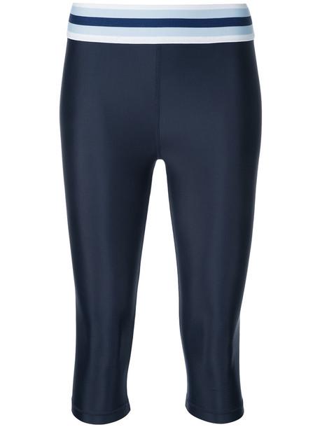 leggings cropped women spandex blue pants