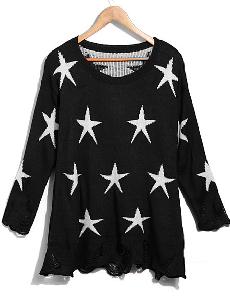 Star Distressed Sweater | Outfit Made