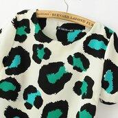 dress,leopard print,mini dress,short sleeve