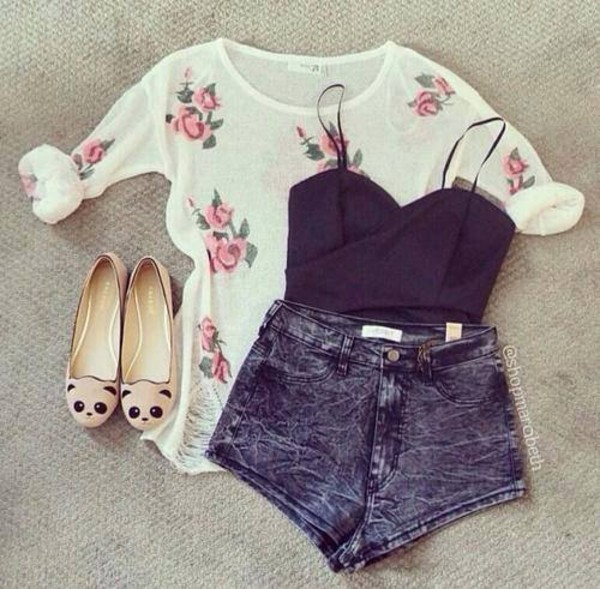 sweater denim shoes flat outfit top black bear face shoes pink green jullnard tank top