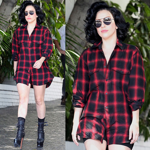 shirt lady gaga red plaid shirt red swag black red and black black and red