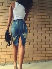 skirt,denim skirt,destroyed denim,blue denim,zipped skirt,slip-on