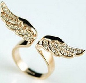 17mm size Fashion Exquisite Rhinestone angel wing Ring Jewelry for women J1384-in Rings from Jewelry on Aliexpress.com