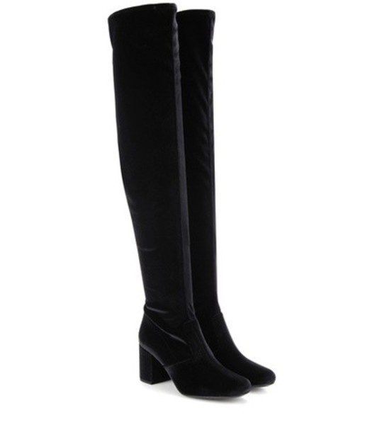 Saint Laurent Bb 70 Over-the-knee Velvet Boots in black