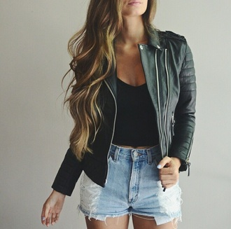 jacket leather jacket perfecto black perfecto black jacket black leather jacket crop tops black cropped black crop top shorts high waisted shorts denim shorts ripped shorts denim torn jean