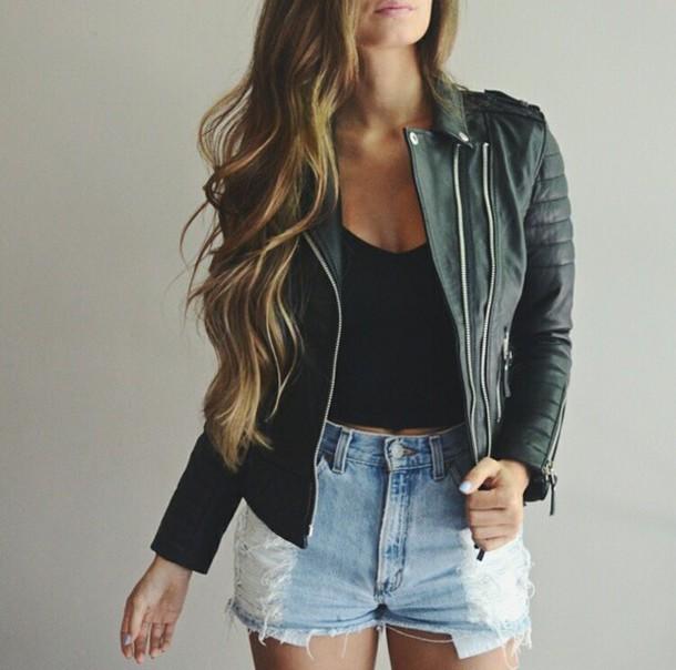 jacket perfecto black perfecto black jacket crop tops black crop top black crop top shorts High waisted shorts denim shorts ripped shorts denim ripped jeans