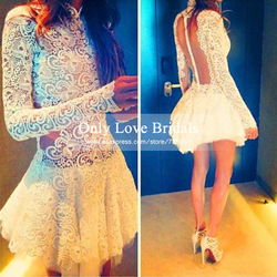 Online Shop Vestido De Festa Elegant Lace High Neck Short Party Gowns See Through Back Appliques Long Sleeve Evening/Prom Dresses 2015 Cheap|Aliexpress Mobile