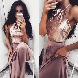dress two piece halter top long dressz sparkly gold and no pink two piece dress set shiny sequin dress long dress a line prom gowns halter prom dres